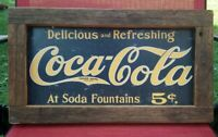 Vintage Coca Cola 5¢ Advertising Sign mounted in Barn Wood Frame very nice