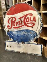 Large Rare Original Antique Pepsi Cola Double Sided Porcelain Sign Vintage dot