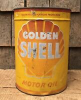 Vintage GOLDEN SHELL Motor Oil 1 Imperial Gallon Gas Service Station Can