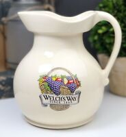 Vintage Welch's Way Large Pitcher Rustic Pottery Farmhouse Country Collectible