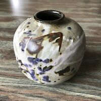 Bill Creitz Studio Pottery Stoneware Vase Splatter Glaze Oregon Pottery