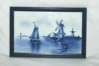 Vintage Framed Delft Tile Wall Handling  Traditional Blue & White Windmill Ship