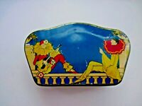 Lovely Art Deco Candy Tin Uniquely Shaped w/ Man & Woman Dressed As Clowns *