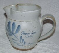 SHENANDOAH VALLEY VIRGINIA VA SALT GLAZED PITCHER BLUE FLOWER ART POTTERY SIGNED