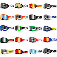 100% STRATA Motocross Dirt Bike Goggles MX Clear Silver Lens ATV BMX Off Road