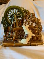 Vintage McCoy Pottery Brown Glazed Spinning Wheel Planter w/Dog