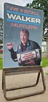 Vtg Walker Mufflers John Madden Double Sided Metal Sign w/ Stand Service Station