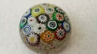 Antique Clichy Colorful Millefiori Cane Art Glass Paperweight