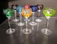 Set of Eight Multi-color, Cut to Clear Nachtmann Traube Crystal Wine Glasses