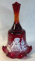 Fenton Art Glass Hand Painted Red Mary Gregory Style