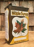 Vintage 60s Pure MAPLE SYRUP 2 Qt Tin Can Country Store Maple Leaf Graphic Sign