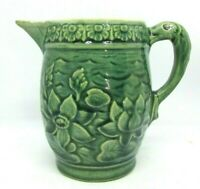 Vintage MCCOY Pottery Aqua Green Lotus Lily Pitcher