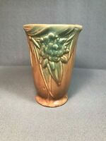 Vintage McCoy Art Pottery Vase Matte Brown with Green Flowers and Leaves 6 inch