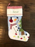 New Pottery Barn Kids Blue Gingham Quilted Snowman Christmas Stocking *Samuel