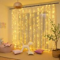 Window Curtain Icicle Lights String Fairy 300LED Wedding Party Home Garden 10ft