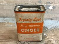 Vintage Dainty Dot Pure Ground Ginger Spice Tin Advertising 2 Ounce