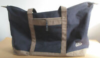 Samsonite Weekend Vacation Tote Style Canvas Bag Handles Navy Blue Gray Lined