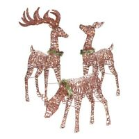 Holiday Time Light-up Outdoor 3-Piece Reindeer Family Decoration Clear Lights
