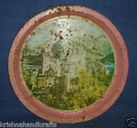 VINTAGE TIN ADVERTISEMENT / SIGN BOARD WITH NICE CHURCH BUILDING LITHO