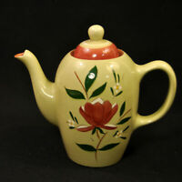 Stangl Magnolia Coffee Pot 4 Cup 1952 Maroon Green White Yellow Engobe Great