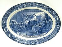 Large Liberty Blue 20 inch DECLARATION OF INDEPENDENCE Turkey Platter