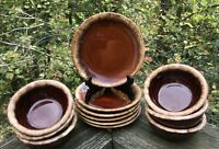12  HULL BROWN DRIP 6 Soup Cereal BOWLS & 6 BREAD BUTTER PLATES Pottery CRESTIME