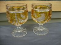 Empire Bohemian Baccarat Crystal Bar Cup Wine Glass Flute Yellow Vtg Antique