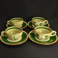 Stangl Star Flower 4 Cups & Saucers White Yellow Hellebore Green Engobe 1952