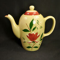 Stangl Magnolia Coffee Pot 8 Cup 1954 Maroon Green White Yellow Engobe Great