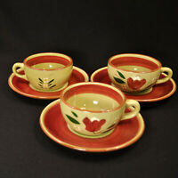 Stangl Magnolia Set 3 Cups & Saucers 1953-1954 Maroon Green White Yellow Engobe