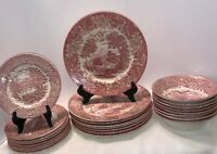 Stafforshire England Red Transferware 24 Pcs Service For 8