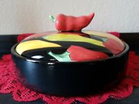 CLAY ART~HAND PAINTED~TORTILLA WARMER~CALIENTE~STONELITE CLAY~9.5