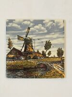 Vintage Delft Blauw Blue Windmill Ceramic Tile Hand Painted Holland Rare Color!!