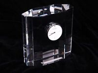 Orrefors Art Crystal Heavy Mantel Clock Signed Etched Limited Edition $394 NWOB