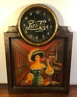 Vintage 1980's Wooden Pepsi Cola Wall Clock W Girl Painting Soda Pop Sign Works