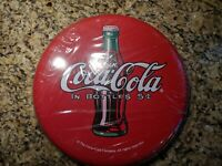 """Coke Button 12"""" Round Tin Sign Button Drink Coca Cola In Bottles (Reproduction)"""