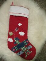 POTTERY BARN KIDS plane airplane QUILTED CHRISTMAS STOCKING no name