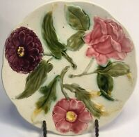 Antique French Orchies Early Art Nouveau Majolica Plate c.1880s