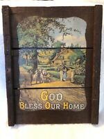 Antique Advertising Wood Sign Original Raisinrak God Bless Our Home Vintage