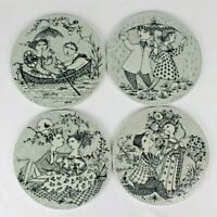 4 Bjorn Wiinblad Plaques Butter Boards - April May June July - Nymolle, Denmark