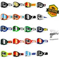 100% STRATA Goggles Offroad MX MTB Motocross ATV CLEAR OR MIRROR LENS All Color