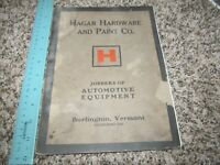 Early Hagar Hardware & Paint Automobile Car Parts Catalog Advertisements