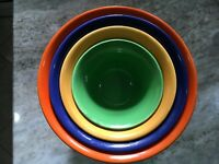 4 pc Set HALL RADIANT WARE  Pottery Mixing Bowls c1940s Bright Colors