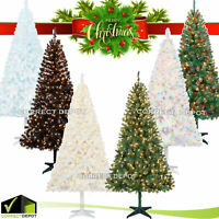 6.5' Christmas Tree Artificial Pre-Lit Strung 350 Pine Clear/Color Lights Stand