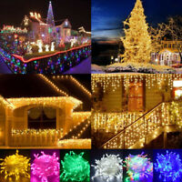 96-1500 LED Outdoor Fairy String Lights Icicle Curtain Wedding Party Christmas
