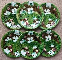 6 ANTIQUE FRENCH ORCHIES MAJOLICA STRAWBERRY PLATES-ROGER VERGE