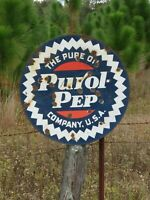 Pure Oil Purol Pep Double Sided Porcelain Curb Sign Burdick Newberry 25 1/2''