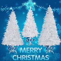 5ft 6ft 7ft White Artificial Christmas Tree Xmas Pine Metal Stand Indoor Outdoor