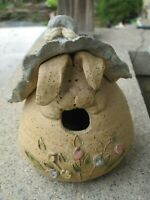 Folk Art Pottery Cute Ugly Birdhouse Rabbit Pottery Clay Birdhouse Signed 2001