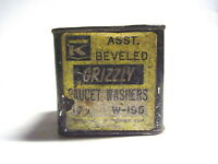 Vintage Grizzly Faucet Washer Steel Metal Tin Kirkhill, Inc. Can Container Box
